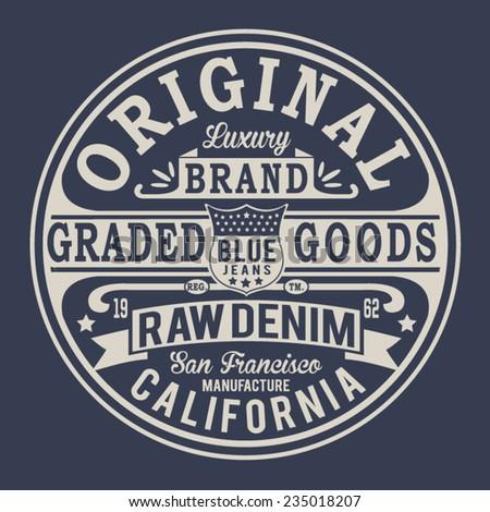 vintage denim typography  t