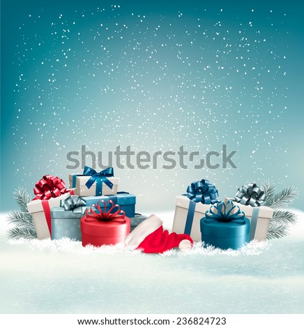 winter background with presents