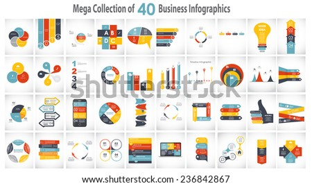 collection of 40 infographic