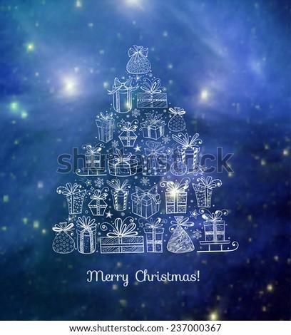 xmas card with christmas tree