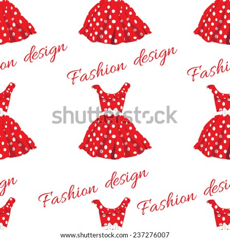 red dress with white polka dot
