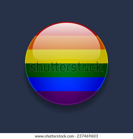 round glossy icon with rainbow