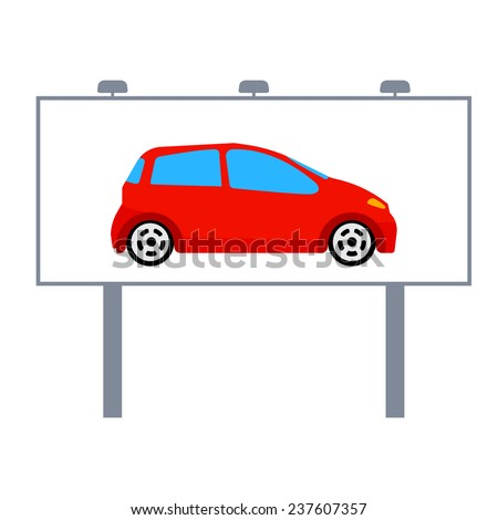 red car on a billboard vector