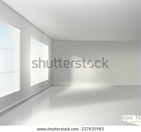 empty white room realistic