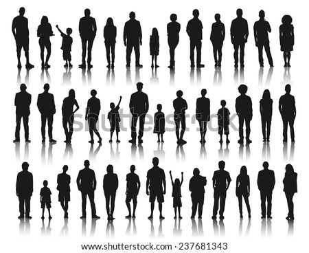silhouettes group of people in