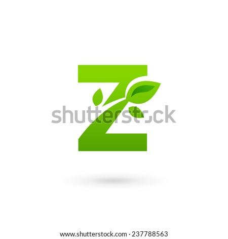 letter z eco leaves logo icon