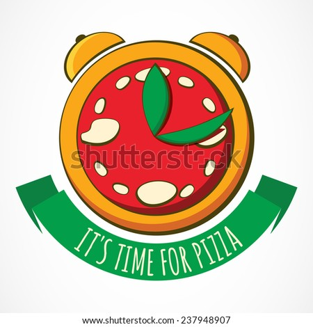tasty pizza with clock  design