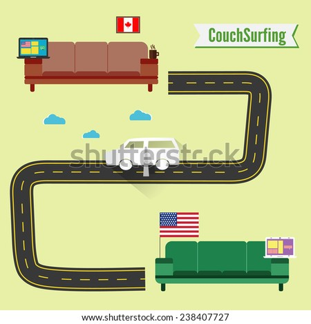 couch surfing concept share
