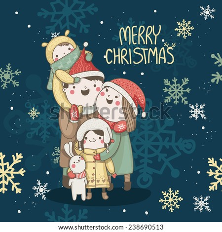 christmas card with happy