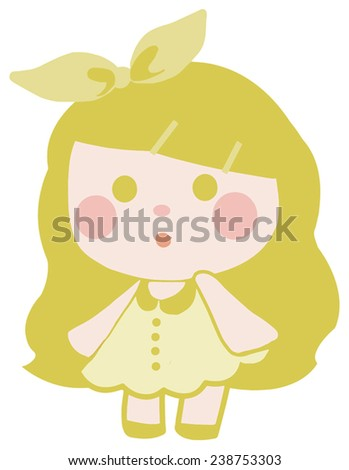 vector cute yellow doll