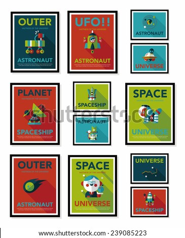 space poster banner flat design