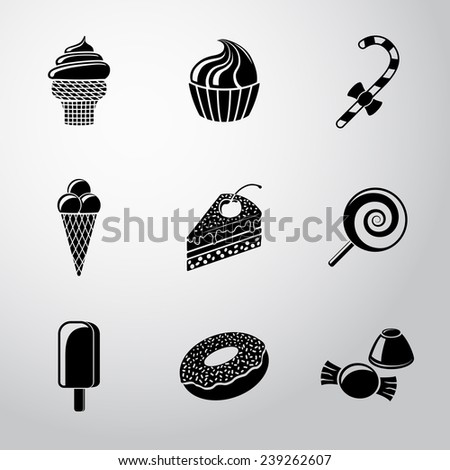 sweet icons set with   cupcake
