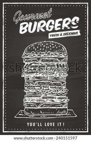 hand drawn of hamburger on