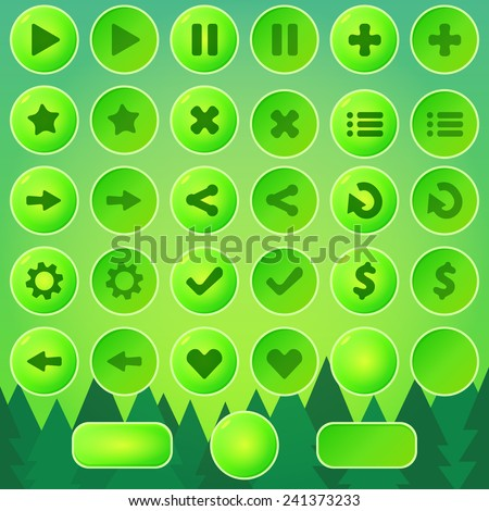 game ui buttons   green vector