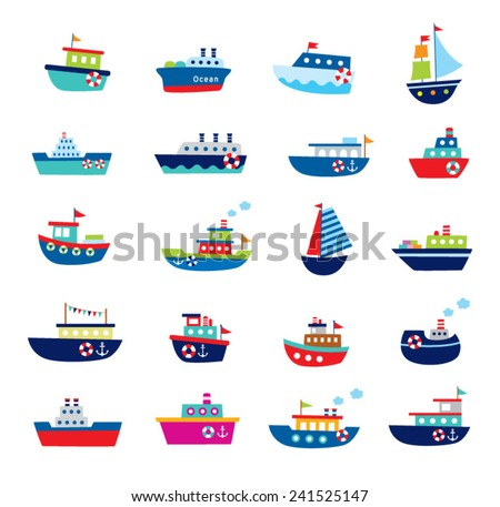 cute boat ship vector