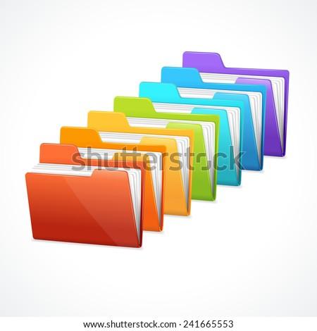 vector many rainbow folders on