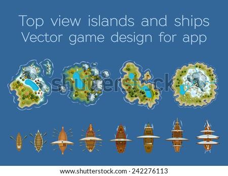 sailing ship and islands top