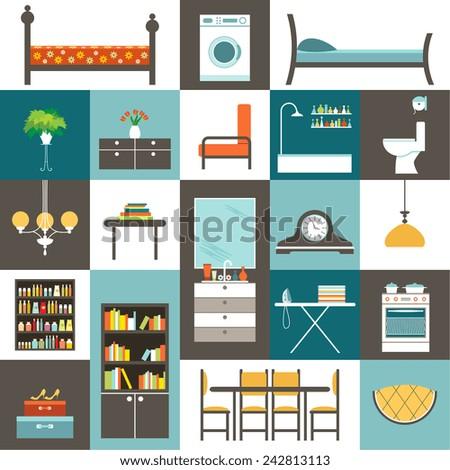 set furniture vector