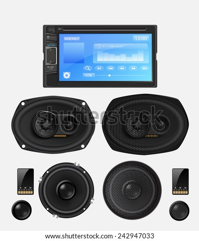 car audio with speakers vector