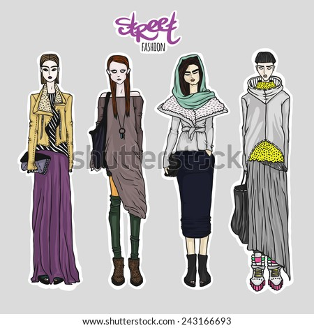 set of street fashion looks
