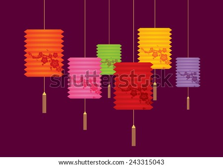colorful chinese lantern vector