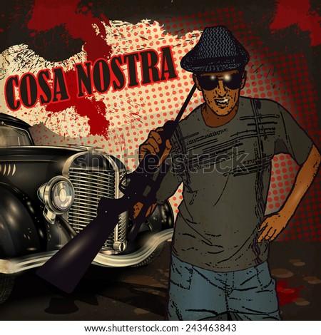 gangster on retro car