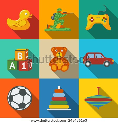 toys flat long shadow icons set