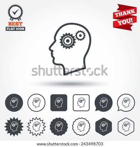 head with gears sign icon male
