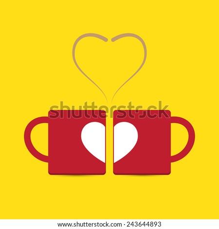 vector love heart couple cup
