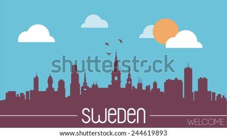 sweden skyline silhouette flat