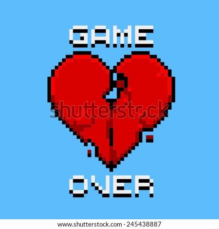 game over   pixel art logo