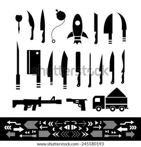 basic vector weapons symbol set