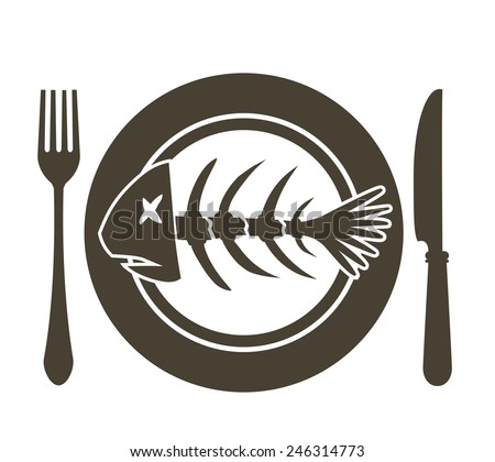 fish skeleton on the plate with