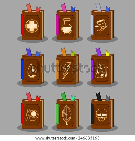 magic books set  vector