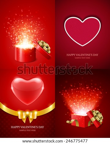 set of happy valentines day