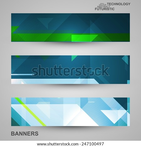 set of banners  technology art