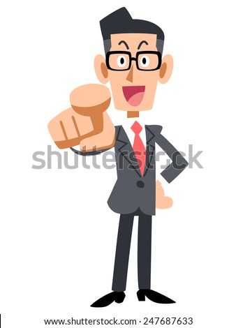 glasses of businessman pointing
