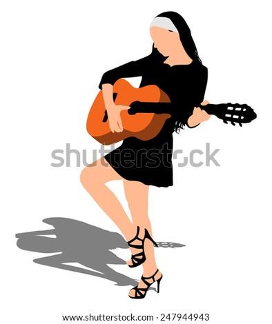 young beautiful woman playing
