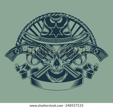 illustration of sheriff's skull