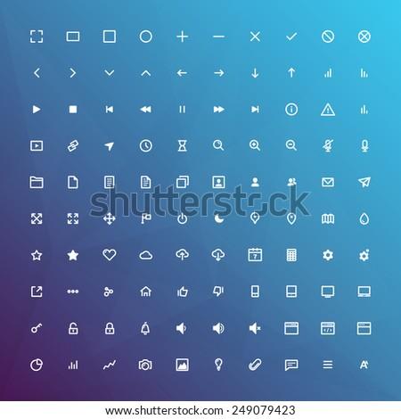 100 minimal line icons set for
