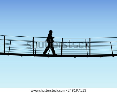 bridge crossing silhouette on