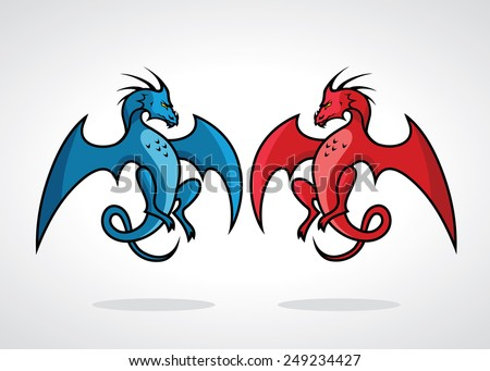blue and red dragon   vector
