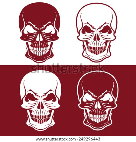 set of skulls vector design