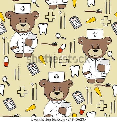 seamless pattern with teddy
