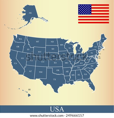 usa map with states names  flag
