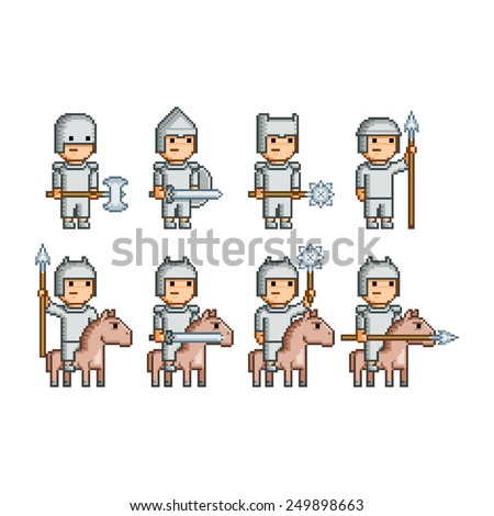 vector pixel art army of