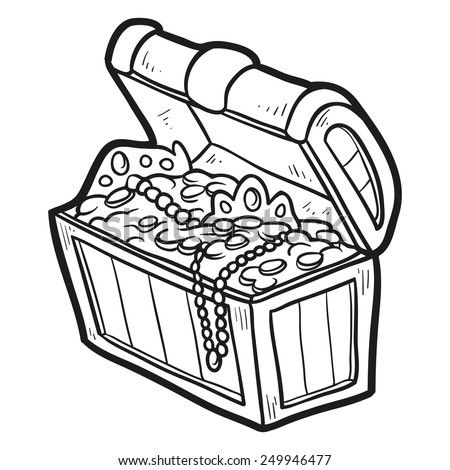 treasure chest outline free vector download 4810 free vector for commercial use format ai eps cdr svg vector illustration graphic art design - Open Treasure Chest Coloring Page