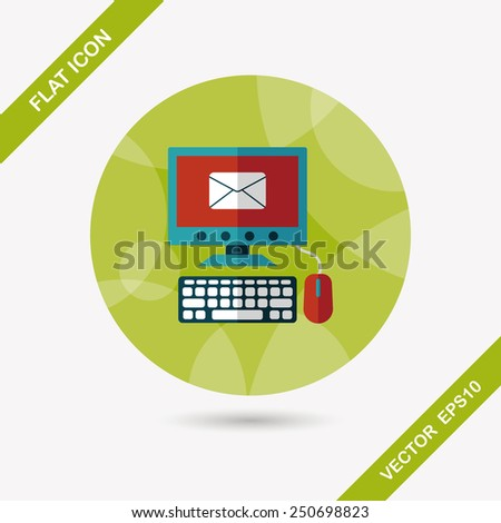 computer flat icon with long