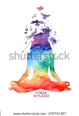 vector rainbow watercolor label
