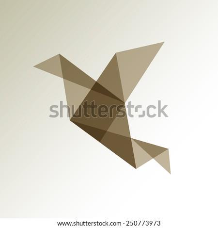 origami bird transparent brown